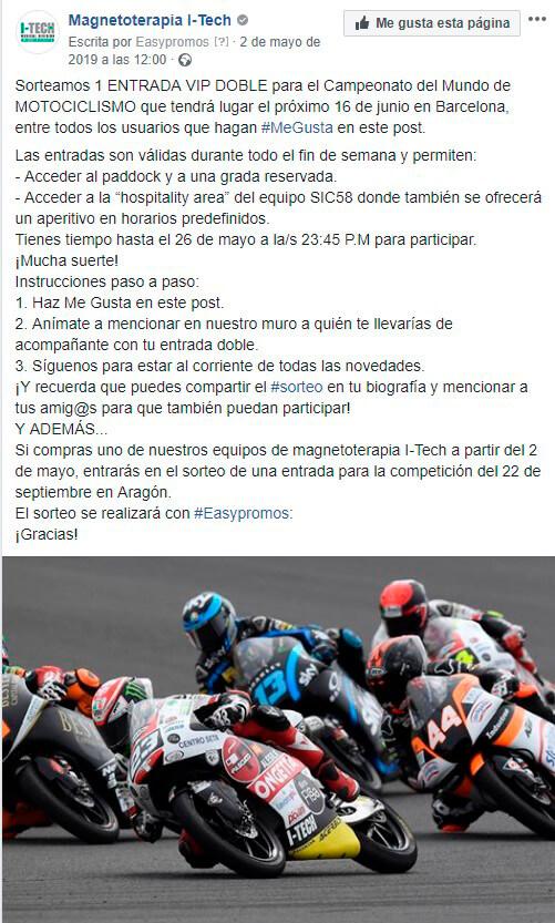 Condiciones para participar en el sorteo de una entrada vip para el Mundial de motociclismo